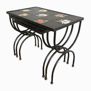 Tavolini a incastro Mid-Century in ceramica e ferro