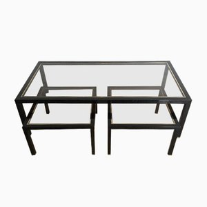 Black Lacquer and Brass Coffee Table with Two Nesting Tables, 1960s