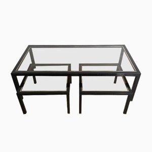 Mesa de centro de latón y lacado negro con dos mesas nido, años 60