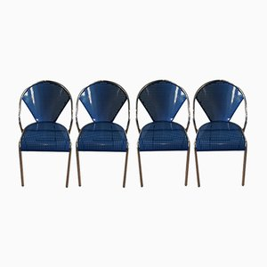 Chrome & Blue Perforated Metal Chairs, 1980s, Set of 4