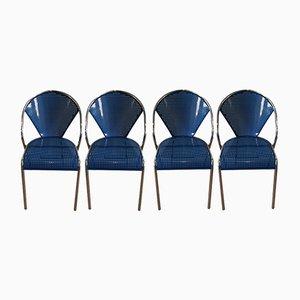 Sillas de metal perforado azul y cromado, años 80. Juego de 4