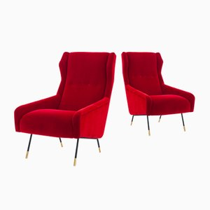 Italian Red Velvet, Brass, and Iron Armchairs, 1950s, Set of 2