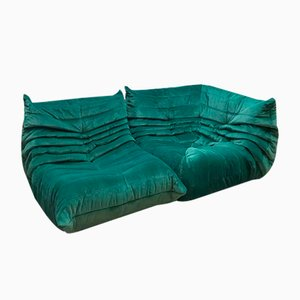 Vintage Velvet Togo Sofa by Michel Ducaroy for Ligne Roset, 1970s