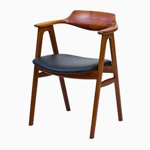 Sedia da scrivania in teak e pelle di Erik Kierkegaard per Høng Stolefabrik, anni '50