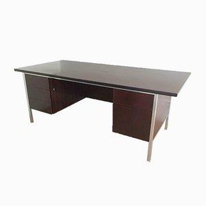 Schreibtisch aus gebürstetem Stahl & Holz, 1960er