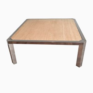 Table Basse en Chrome et Travertine, 1970s