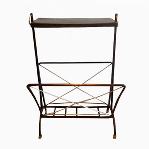Mid-Century Brass & Black Metal Magazine Rack