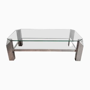 Table Basse Mid-Century en Chrome et Verre