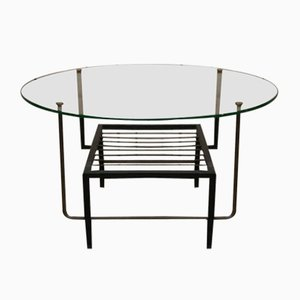 Table Basse Mid-Century en Chrome, Verre et Laiton