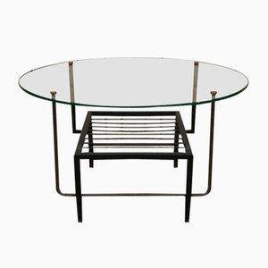 Tavolino da caffè Mid-Century in metallo, ottone e vetro