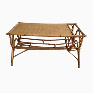 Mid-Century Rattan Coffee Table with Magazine Rack