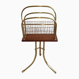 Vintage Wood & Brass Magazine Rack