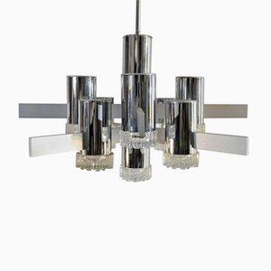 Lámpara de araña vintage geométrica de Gaetano Sciolari
