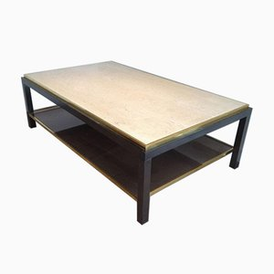 Gun Metal & Brass Travertine Coffee Table, 1970s