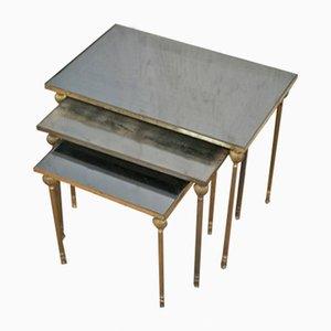 Tables Gigognes Mid-Century en Laiton et Miroir, Set de 3