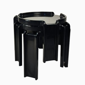 Black Nesting Tables by Giotto Stoppino for Kartell, 1970s