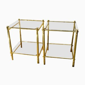 Mid-Century Glass & Metal Coffee Tables, Set of 2
