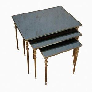 Tavolini a incastro vintage in ottone, anni '50