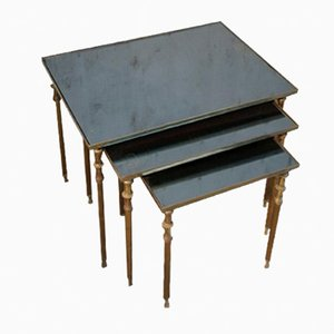 Vintage Brass Nesting Tables, 1950s