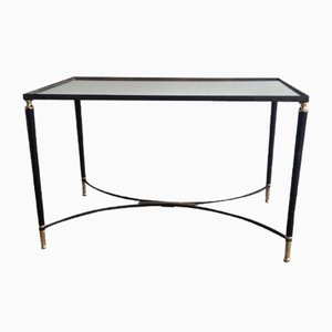 Table Basse Mid-Century en Laiton et Laque Noire