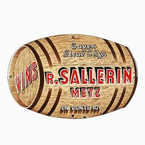 Enameled Advertising Sign for Vins Sallerin Metz from Emaillerie Alsacienne Strassbourg