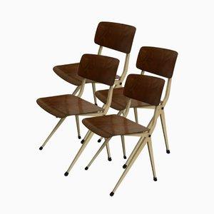 Industrielle Mid-Century Stahl & Holz Stühle von Marko, 1960er, 4er Set