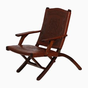 Mid-Century Peruvian Leather Lounge Chair, 1960s