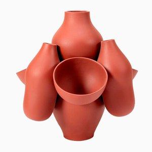 Rot/Braune Allpa Vase von Jean Baptiste Fastrez für Moustache, 2018