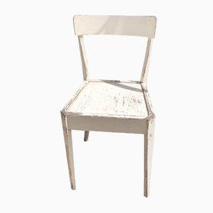 Französischer weißer Holzstuhl