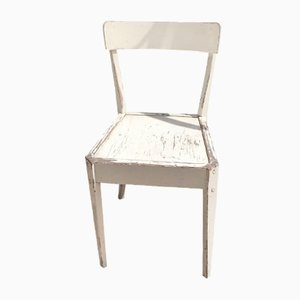 French White Wooden Cafe Chair, 1950s