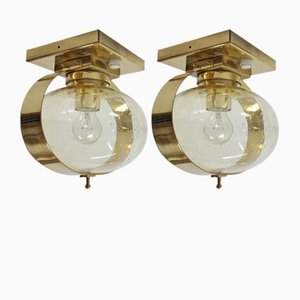 Mid-Century Ceiling or Wall Lamps from Kamenický Šenov, 1970s, Set of 2