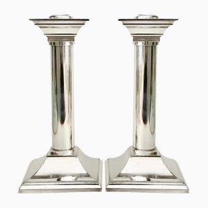 Portacandela vintage a forma di colonna placcati in argento, set di 2