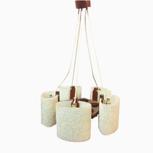 Lámpara colgante escandinava vintage de resina perspex y teca