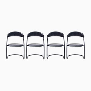 Italian Modern Tubular Dining Chairs, Set of 4, 1980s