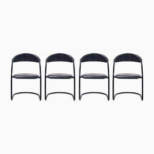 Italienische Esszimmerstühle mit schwarzen Rohrrahmen, 1980er, 4er Set
