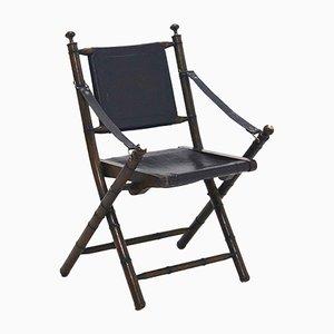 Chaise Pliable Campaign en Chêne et Cuir, 1920s