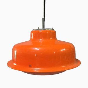 Lampada a sospensione arancione e bianca di Guzzini, anni '70