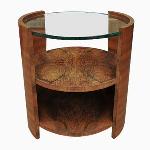 Art Deco Walnut Veneer & Glass Side Table, 1930s