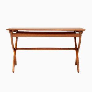 Teak und Eichenholz Tisch mit Kreuzgestell von Ole Wanscher für Rud. Rasmussen, 1951