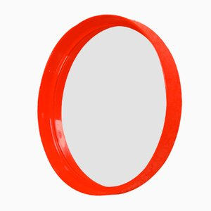 Red Circular Mirror by Pierre Guariche for Meurop, 1970s