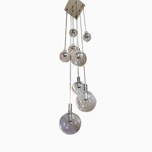 Lámpara colgante en cascada de metal cromado y vidrio, años 60