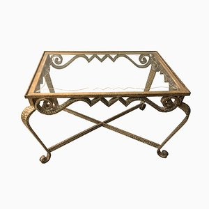 Tavolino da caffè in vetro e ferro dorato di Pier Luigi Colli, Italia, anni '50
