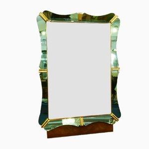 Miroir avec Cadre en Verre Vert et Crochets de Portemanteau de Fontana Arte, Italie,1940s