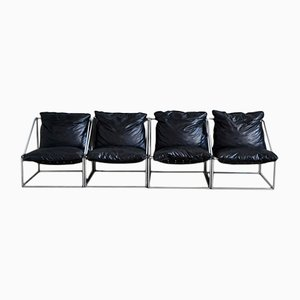 Black Synthetic Leather and Chromed Steel Modular Armchairs, 1970s, Set of 4