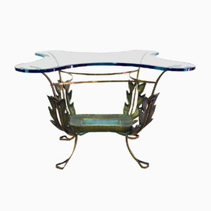 Mesa de centro de latón pintado y cristal de Pier Luigi Colli, años 50