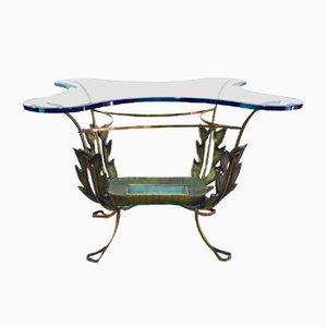 Tavolino da caffè in ottone e cristallo di Pier Luigi Colli, anni '50