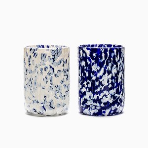 Macchia su Macchia Ivory & Blue Glasses by Stories of Italy, Set of 2