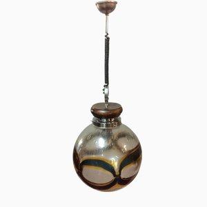 Lampada a sospensione sferica in vetro di Murano, anni '60