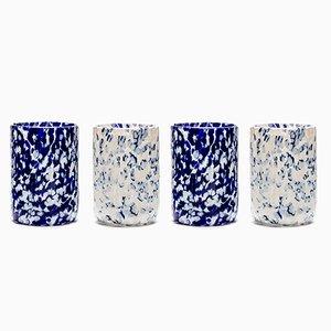 Bicchieri Macchia su Macchia blu e color avorio di Stories of Italy, set di 4
