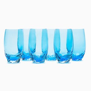 Dattero Aquamarine Glasses by Stories of Italy, Set of 6